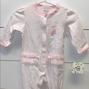 NWT Little Me pink heart ballet footed jumper 6M